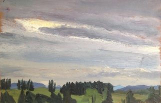 Michelle Mendez; Danville Storm Approachin..., 1992, Original Painting Oil, 11 x 7 inches. Artwork description: 241 Danville Vermont, spring, oil on primed Rives BFK printmaking paper, mounted on wood with stripping edge stained with mahogany stain, ready to hand  ...