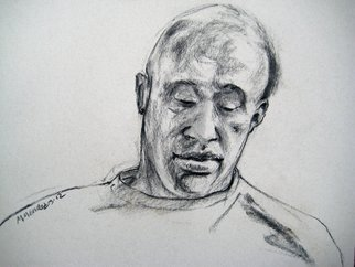 Michelle Mendez; Habib Reading, 2011, Original Drawing Charcoal, 24 x 18 inches.