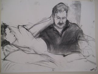 Michelle Mendez; Peter Reading To Jamie, 2011, Original Drawing Charcoal, 24 x 18 inches.
