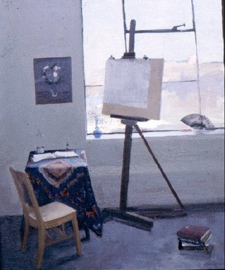 Michelle Mendez; Studio, 1990, Original Painting Oil, 18 x 24 inches. Artwork description: 241  Painting of my studio. On permenant loan and I'd like to have it back.       ...