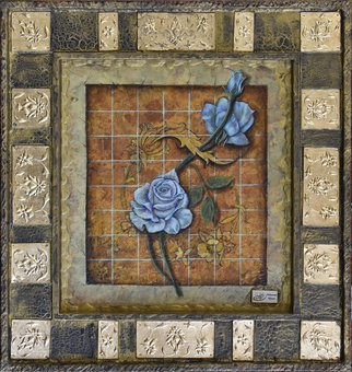 Mohammad Khazaei; blue rose, 2017, Original Painting Other, 54 x 57 cm. Artwork description: 241 my new style art...