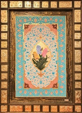 Mohammad Khazaei; persian painting, 2017, Original Painting Other, 78 x 104 cm. Artwork description: 241 Gilding currently means to draw beautiful patterns of plants or geometrical shapes on the margins of books. At the beginning, golden color was used in this art and this is why they called it aEURoetazhibaEUR  gilding . Other colors like azure, blue, green, vermilion, and turquoise have also ...