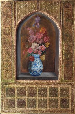 Mohammad Khazaei; vase and flowers, 2014, Original Painting Other, 70 x 100 cm. Artwork description: 241 gold leaf, Persian painting, emboss, floral, flower, gilding...
