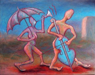 Andreas Mohn; Swinging, 2005, Original Painting Acrylic, 100 x 80 cm. Artwork description: 241  This two merrily figures are trying to make nice music! ...