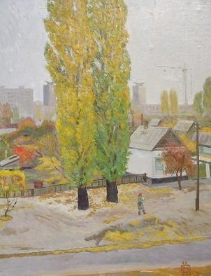 Moesey Li; Autumn, 1982, Original Painting Oil, 70 x 90 cm. Artwork description: 241 Autumn. A postwomanrealism, landscape, autumn, postwoman, house, poplar...