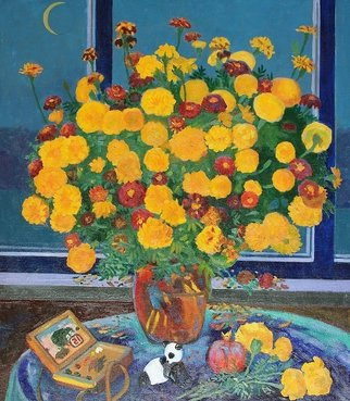 Moesey Li; Autumn Bouquet, 1995, Original Painting Oil, 80 x 90 cm. Artwork description: 241 realism, still life, flowers, table, pomegranate, toy, window, moon...