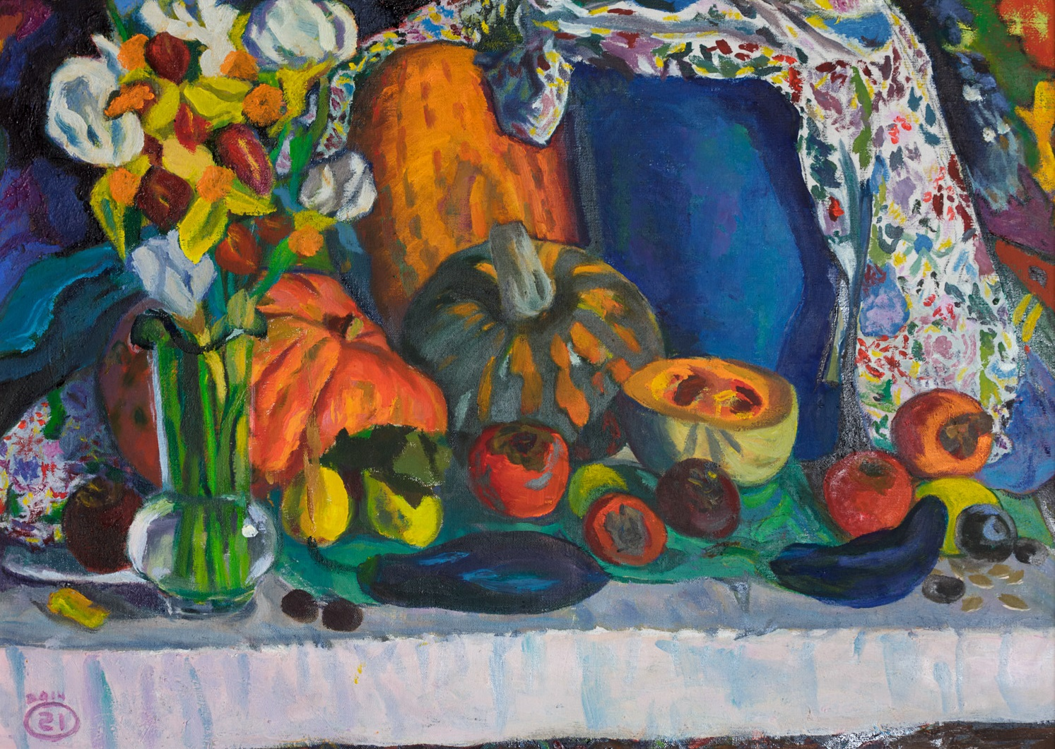 Moesey Li; Fruits And Vegetables, 2014, Original Painting Oil, 70 x 50 cm. Artwork description: 241 realism, still life, aubergine, pumpkin, flowers, persimmon...
