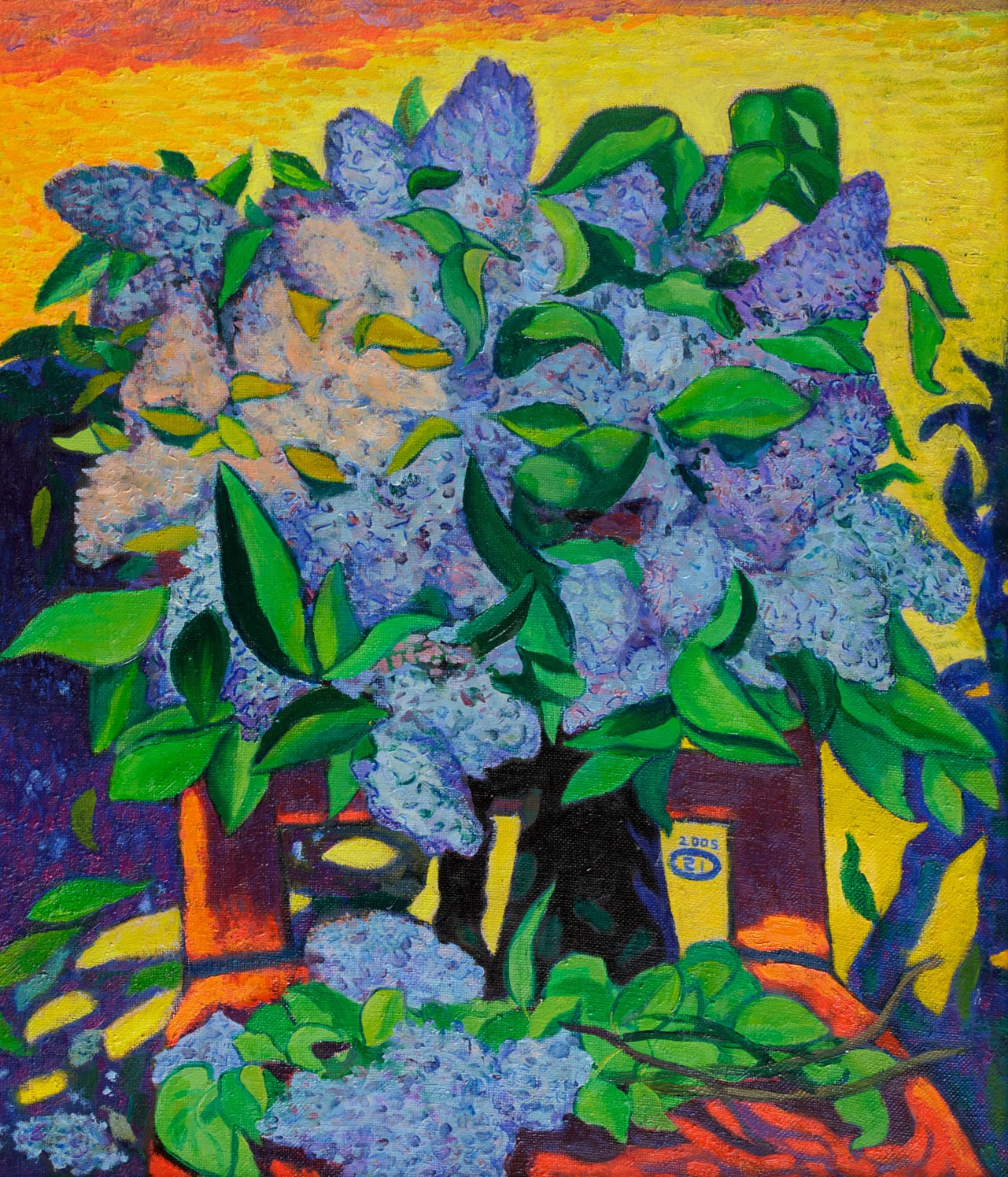 Moesey Li; Lilac, 2005, Original Painting Oil, 60 x 70 cm. Artwork description: 241 realism, still life, flowers, lilac...