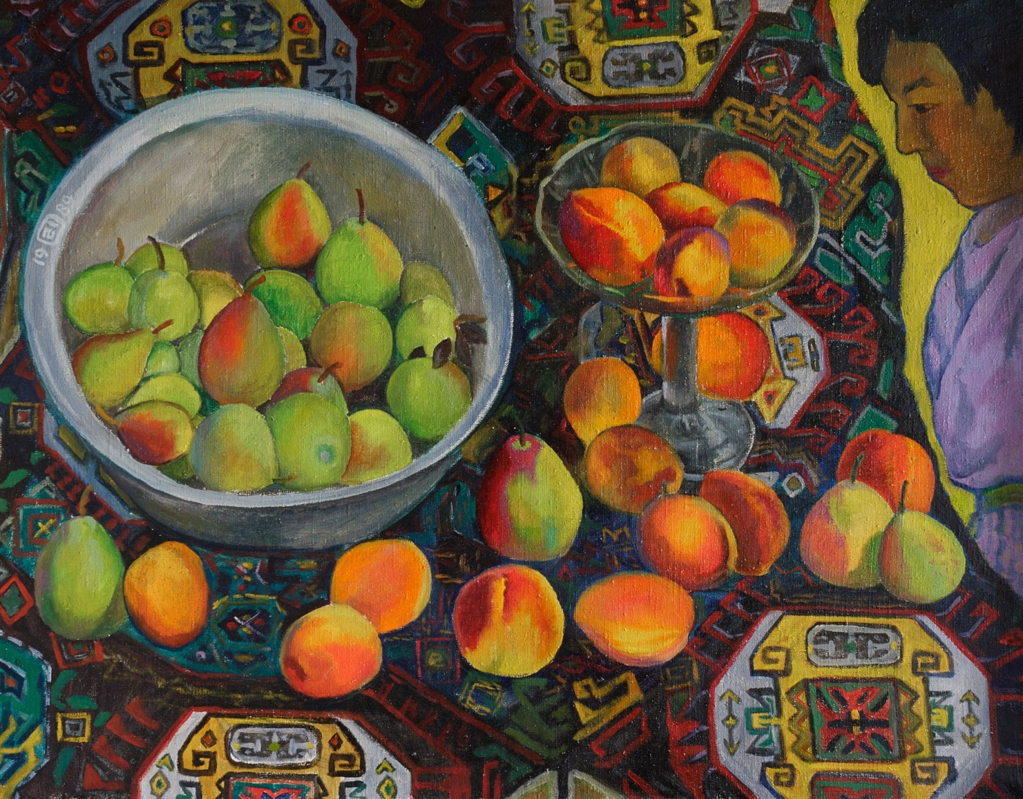 Moesey Li; Oriental Still Life, 1989, Original Painting Oil, 90 x 70 cm. Artwork description: 241 peaches, pears, realism, still life, carpet, woman...