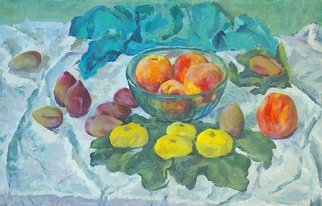 Moesey Li; Peaches With Figs, 1975, Original Painting Oil, 59 x 38 cm. Artwork description: 241 realism, still life, peaches, figs, vase, tablecloth...
