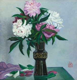 Moesey Li; Peonies In A Black Vase, 1990, Original Painting Oil, 50 x 53 cm. Artwork description: 241 realism, still life, peonies, vase, table...