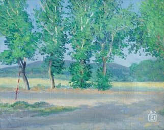 Moesey Li; Poplars In Anapa, 1985, Original Painting Oil, 50 x 39 cm. Artwork description: 241 realism, landscape, poplar, road, Anapa...