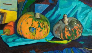 Moesey Li; Pumpkins And Peppers, 2009, Original Painting Oil, 50 x 30 cm. Artwork description: 241 realism, still life, pumpkins, pepper...
