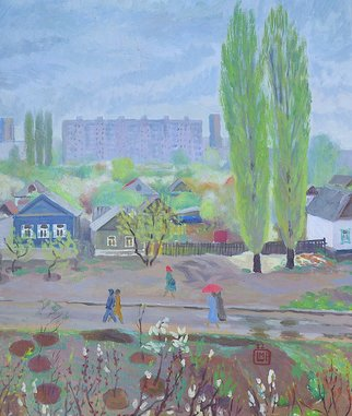 Moesey Li; Rainy Spring, 1982, Original Painting Oil, 59 x 69 cm. Artwork description: 241 realism, landscape, spring, rain, trees, houses, Volgograd...