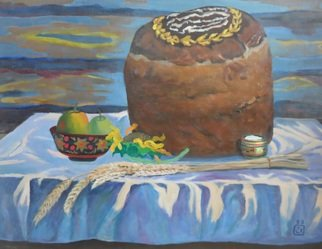 Moesey Li; The Loaf, 1993, Original Painting Oil, 82 x 64 cm. Artwork description: 241  realism, still life, loaf, salt, spikelets, apples, table...
