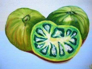Marilia Lutz; Green Tomatoes, 2011, Original Painting Oil, 12 x 9 inches.