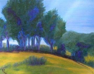 Marilia Lutz; Trees On A Hill, 2011, Original Painting Oil, 14 x 11 inches.