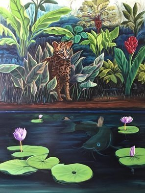 Monica Puryear; Cat Fish, 2019, Original Painting Oil, 16 x 20 inches. Artwork description: 241 Depicts the imagined interaction between animals, in this case the Ocelot and the catfish. ...
