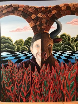 Monica Puryear; Dream Self Number Three, 2019, Original Painting Oil, 16 x 20 inches. Artwork description: 241 This piece features my husband and his alter ego, the bull. ...