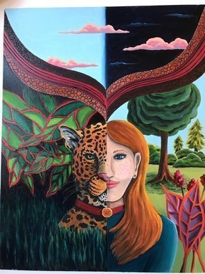Monica Puryear; Dream Self Number Two, 2019, Original Painting Oil, 16 x 20 inches. Artwork description: 241 This depicts the animal spirit with a woman and the leopard. ...