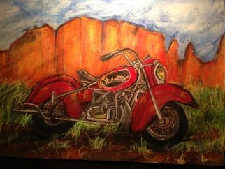 Sherry Harradence; Indian Red Summer, 2013, Original Mixed Media, 60 x 50 inches. Artwork description: 241  Motorcycle, bike, Indian bike, vintage bike, red, Sedona, Arizona, biker, Father's Day, gift, red, green, orange, blue, reclaimed wood frame, one of a kind, unique, motorist, for him. For her, special edition, art, painting, original art work,  ...