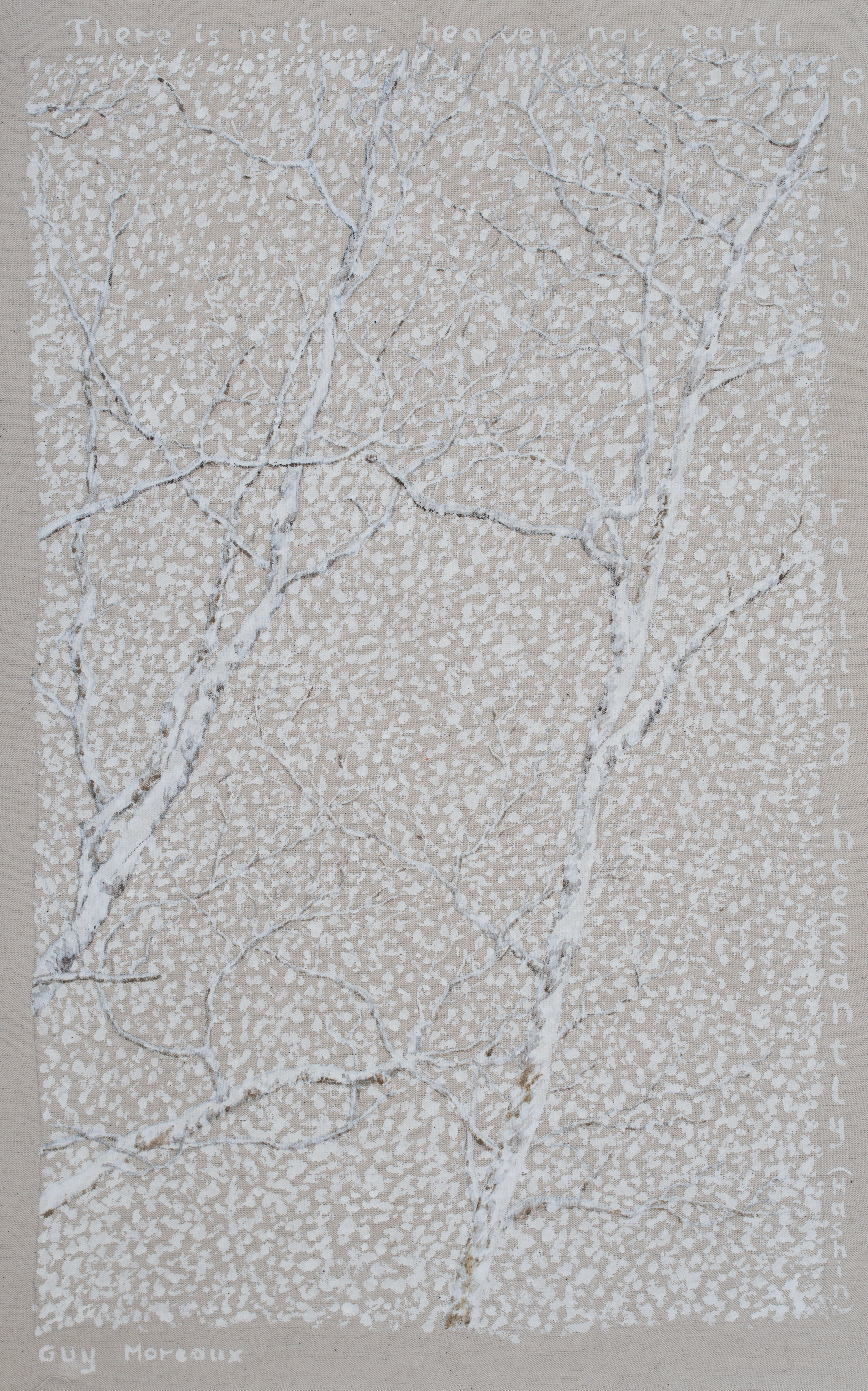 Guy Octaaf Moreaux, 'Haiku Snow', 2005, original Painting Acrylic, 46 x 75  inches. Artwork description: 1758 There is neither heaven nor earth/ Only snow/ Falling incessantly/Haiku from Hashin.Acrylic on canvas....