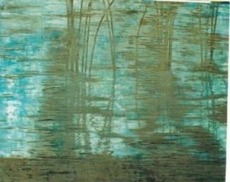 Guy Octaaf Moreaux, 'Reeds', 1996, original other, 100 x 80  inches. Artwork description: 1758 Acrylic and oil paint on hardboard.Reflections in the water on a late afternoon, it facinates me....