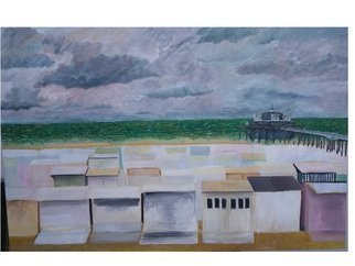 Guy Octaaf Moreaux; September In Blankenberge, 2014, Original Painting Oil, 120 x 80 cm. Artwork description: 241  The North Sea is rough. This is the beach I grew up on, but I remember especially the sunny days. Oil painting on stretched canvas. ...