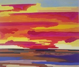 Guy Octaaf Moreaux; Sunset 2, 2014, Original Painting Oil, 140 x 140 cm.