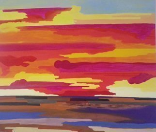 Guy Octaaf Moreaux, 'Sunset 2', 2014, original Painting Oil, 140 x 140  x 4 inches.