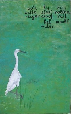 Guy Octaaf Moreaux; White Heron, 2009, Original Painting Oil, 90 x 143 cm. Artwork description: 241  Unknown Japanese poet wrote this senryu, translated to Dutch by J van Toren.Such a white heronHe steps as if the waterDirties his legs ...