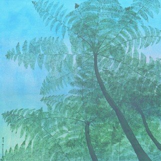 Guy Octaaf Moreaux; Day S End, 2020, Original Painting Acrylic, 91 x 91 cm. Artwork description: 241 Along a waterfall in the Mount Kenya park, these beautiful fern trees grow.Acrylic paint on stretched canvas. ...