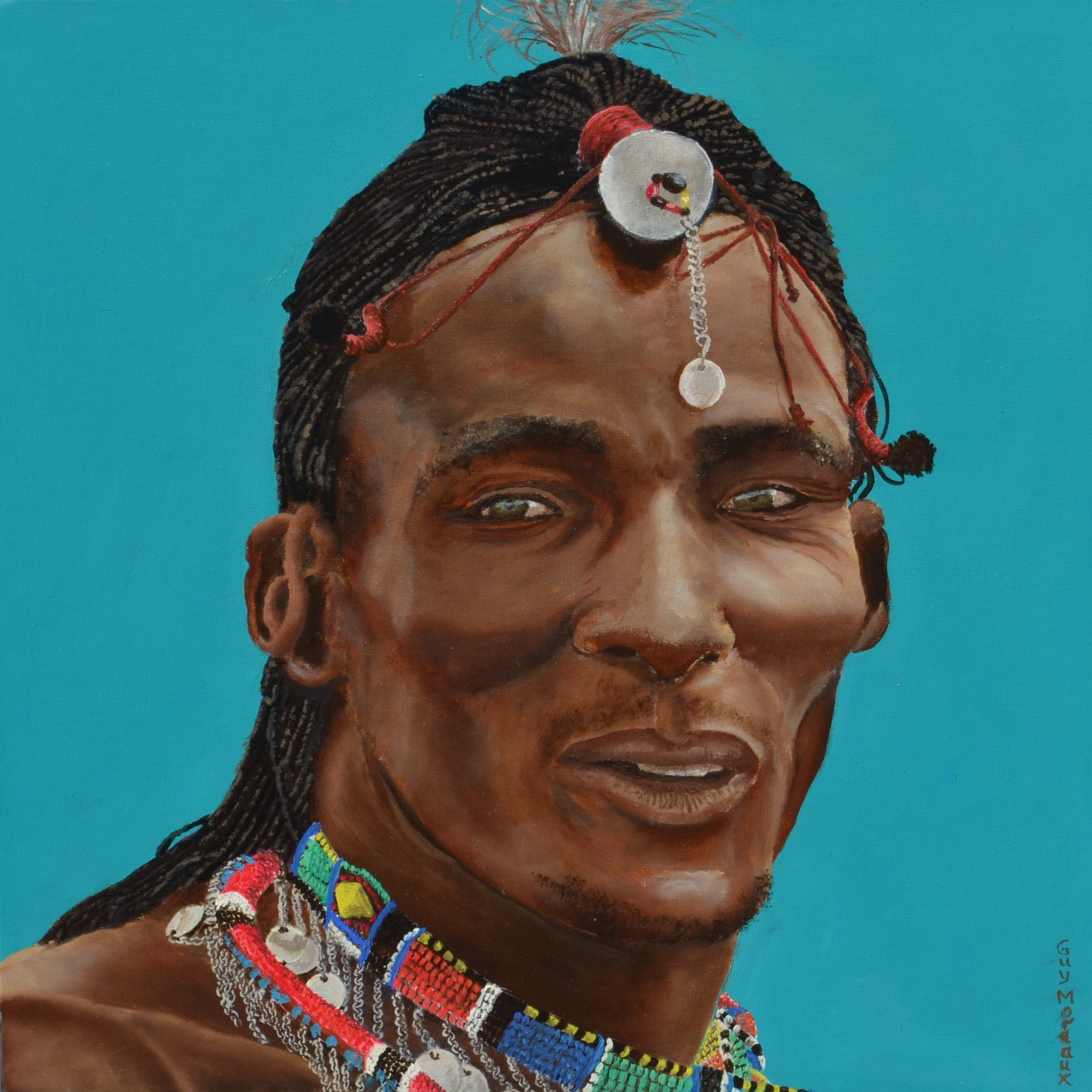 Guy Octaaf Moreaux; Masai Man 1, 2018, Original Painting Oil, 40 x 40 cm. Artwork description: 241 Oil paint on canvasboard...