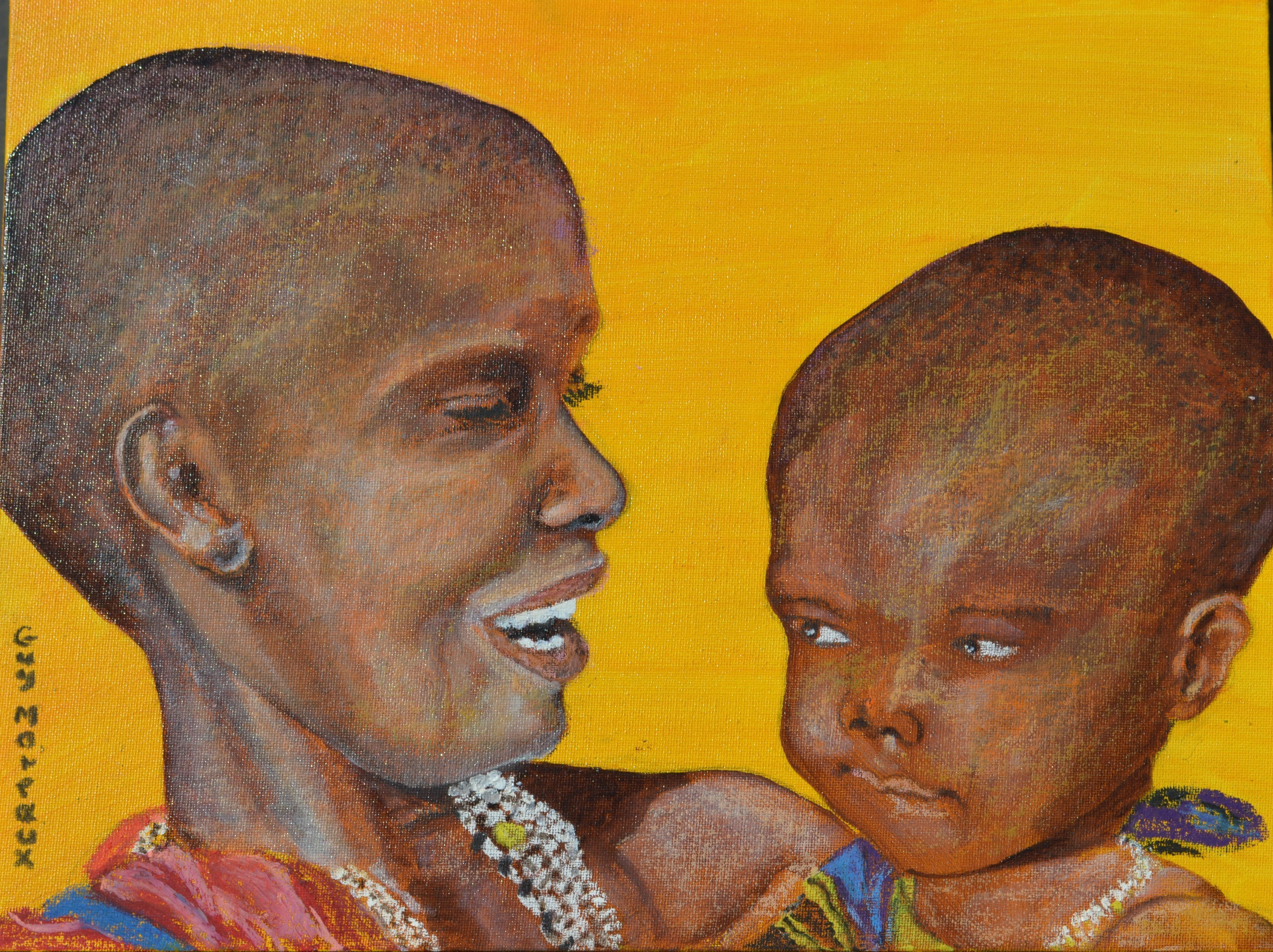 Guy Octaaf Moreaux; Masai Mother And Child, 2018, Original Pastel Oil, 40 x 40 cm. Artwork description: 241 Acrylic paint and oil pastel and oil paint on canvas board. ...