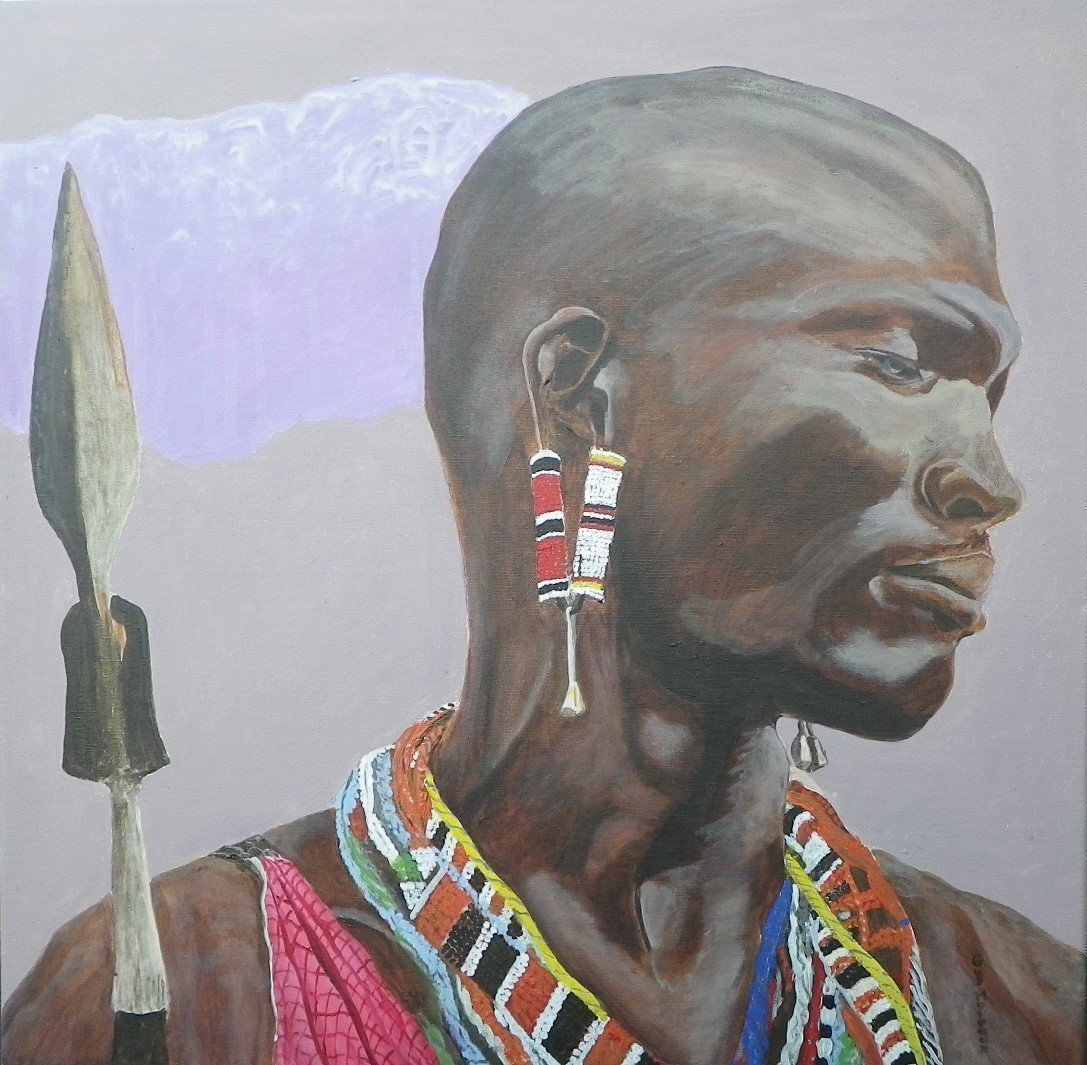 Guy Octaaf Moreaux; Masai Warrior, 2019, Original Painting Acrylic, 60 x 60 cm. Artwork description: 241 The Masai people, nothwithstanding the fact that they have always represented a rather small percentage of the Kenians, have a very strong image and symbolic value for the country for different reasons.Acrylic paint on canvas. ...