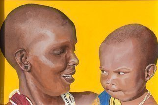 Guy Octaaf Moreaux; Mother And Child 2, 2018, Original Painting Oil, 60 x 40 cm. Artwork description: 241 Masai mother with child.  The interaction between the two is touching.  Sorry for the dark line on the left side.  There was too much sun, a better picture will come soon.Painted on canvas board. ...
