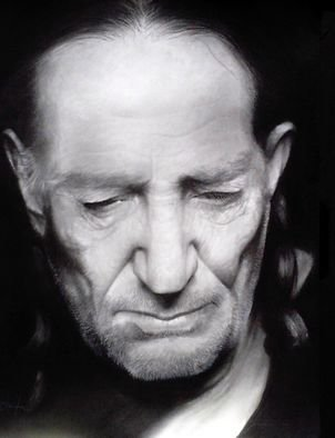 Adrian Pickett; Willie Nelson, 2006, Original Drawing Charcoal, 20 x 24 inches. Artwork description: 241 original portrait done in black and white charcoal on paper ...
