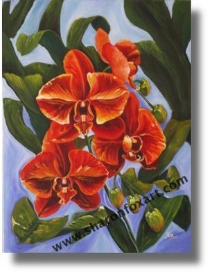 Sharon Fox Mould; Obsession, 2007, Original Painting Acrylic, 18 x 24 inches. Artwork description: 241 Painting of rare Phaleonopsis orchid flowering in the Caribbean. Challenges my fascination with tropical flowers....
