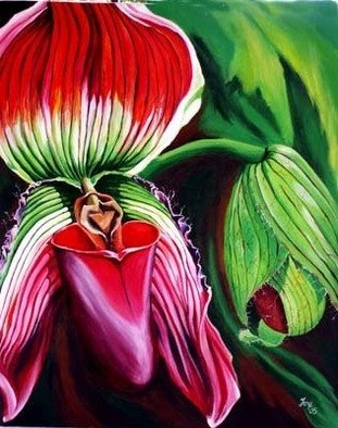 Sharon Fox Mould; Orchid Imagination, 2005, Original Painting Acrylic, 24 x 30 inches. Artwork description: 241 Surreal rendition of tropical orchid....