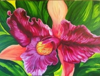 Sharon Fox Mould; Purple Orchid, 2013, Original Painting Acrylic, 40 x 30 inches. Artwork description: 241   An orchid painting that delivers the awe inspiring reality of the orchid species. Painted in the colors of the Caribbean and lit by the brilliance of its sunlight. ...