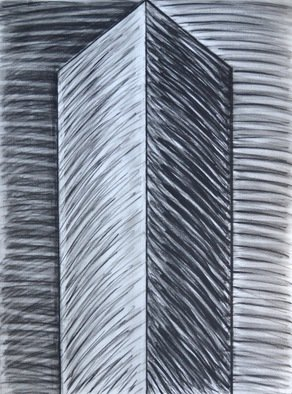 Mircea  Popescu; Vertical V, 2014, Original Drawing Charcoal, 22 x 30 inches. Artwork description: 241                      Abstract, Postmodern, Minimalism,            Postmodern, Minimalism, Mixed media               Wood and plaster                  ...