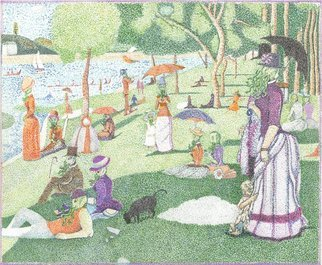 Christopher Rowan; Afternoon In The Park, 2012, Original Drawing Marker, 18 x 24 inches. Artwork description: 241 Experimentation and reimagining of Seurat s La Grand Jatte but merged with Lovecraft s view of cosmic antagonists. There are no connected lines in the picture and it was done as close to scale as I could accomplish. Done in water color markers via stippling pointillism style ...