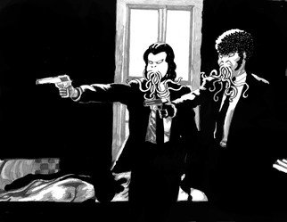 Christopher Rowan; Pulp Fiction, 2012, Original Drawing Marker, 8 x 11 inches. Artwork description: 241 Another of a series of Lovecraft inspired reimagining of pop culture. ...