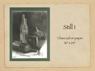 Mr. Dill; Still 1, 2009, Original Drawing Charcoal, 16 x 24 inches. Artwork description: 241        Teapot with bottles      ...