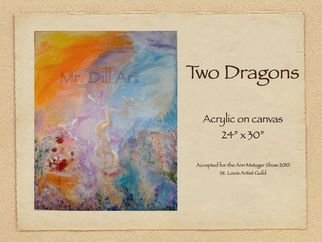 Mr. Dill; Two Dragons, 2009, Original Painting Acrylic, 30 x 24 inches. Artwork description: 241   Abstract of rising dragons  ...
