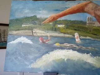 Michael Garr; Swimming At Sachuest, 2015, Original Painting Oil, 20 x 16 inches. Artwork description: 241  Commission ...
