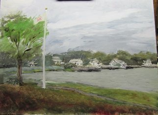 Michael Garr; Wickford Cove Evening, 2014, Original Painting Oil, 20 x 16 inches. Artwork description: 241    View from Wickford Town Beach looking North ...