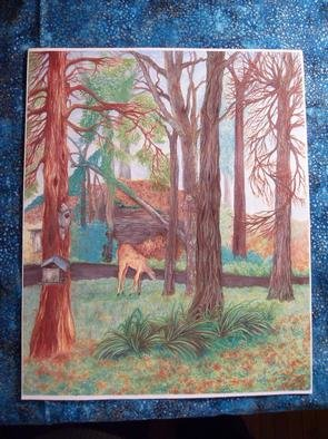 Marie Drews; Forest View, 2008, Original Other, 11 x 14 inches. Artwork description: 241  Watercolor Print.The view through my bay window. The deer posed. ...