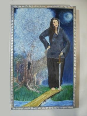 Marie Drews; Megara Nyla, Guardian Elf, 2003, Original Painting Oil, 17 x 27 inches. Artwork description: 241 This is oil on pannel with a custom wood box frame.   ...