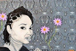 Mulumba Tshikuka; Melissa Cobbler, 2009, Original Painting Acrylic, 30 x 20 inches. Artwork description: 241 Black girl, pink flowers, black and white contrast...